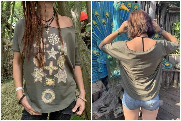 T-Shirt Women Symbol Tree khaki