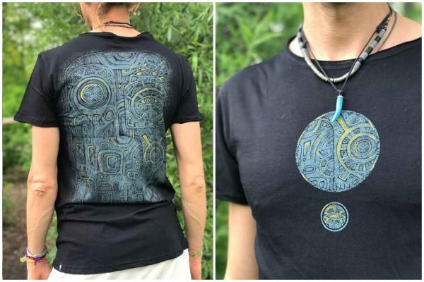 T-Shirt WD MASK BLACK Plazmalab Streewear Psywear uv aktiv