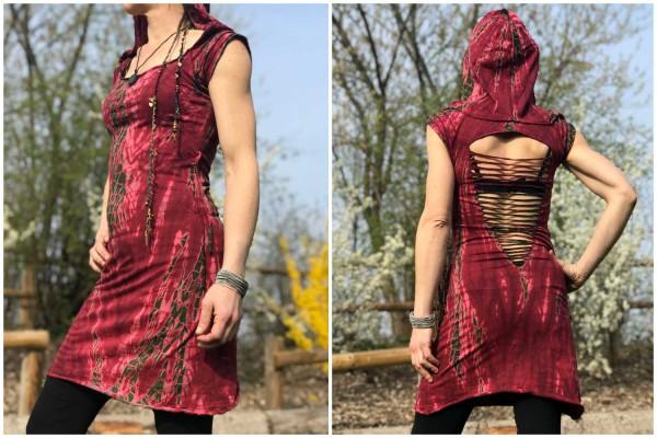 Kleid Batik rot