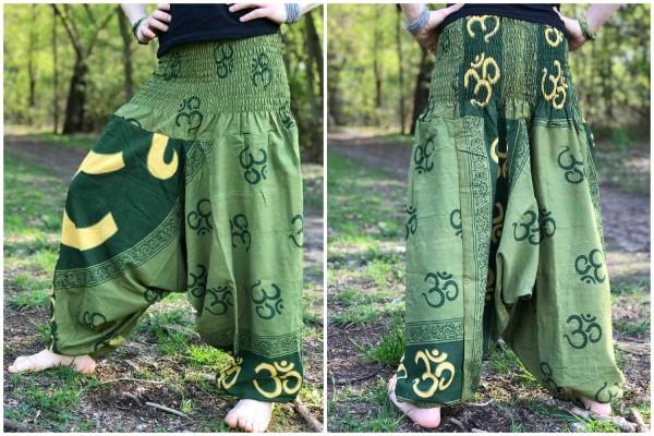 Haremshose Om gelb/grün