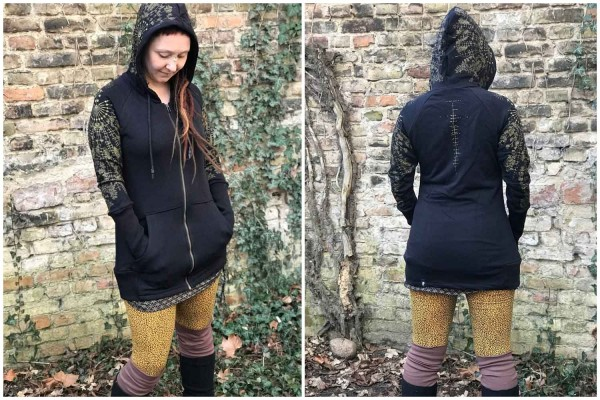 Hoodie Jacke HECATE BLACK Plazmalab Streewear Psywear Kapuzenpullover Pullover Women