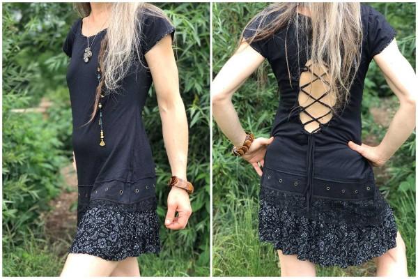 Kleid Blümchen schwarz