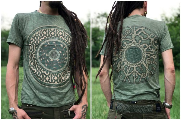 T-Shirt Mandalaa oliv