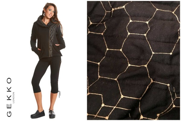 Pullover Honeycomb schwarz gold