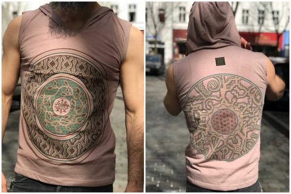 Hoodie T-Shirt Mandala hellbraun
