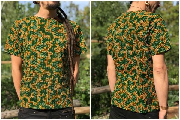 T-Shirt Shipibo orange grün uv
