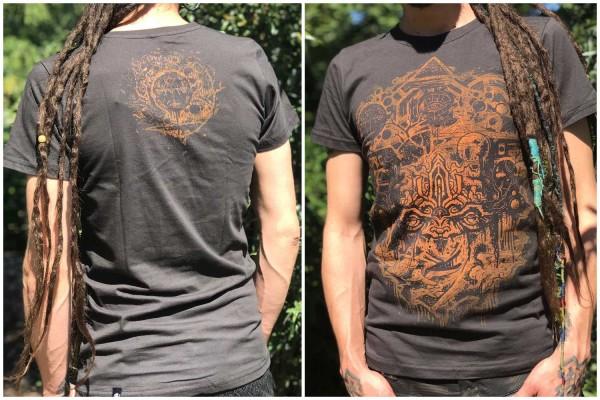 T-Shirt SENSEI DARK BROWN Plazmalab Streewear Psywear uv aktiv