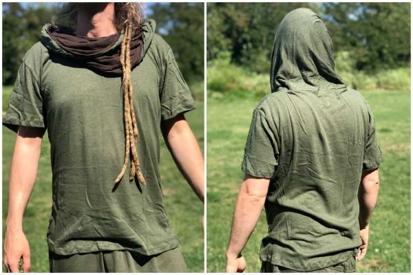 T-Shirt grosser Kragen grün/braun