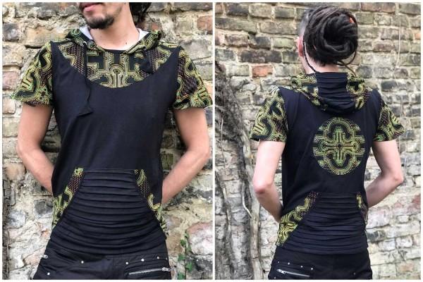 Hoodie T-Shirt Shipibo UV, Alternativ, patches, psywear, geometrische Print, Tribal Kleidung, Hippie Kleidung, Festival Kleidung, Psy wear, Psychedelic Kleidung, Psy Kleidung