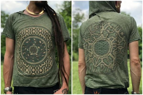 Hoodie T-Shirt Mandala olive