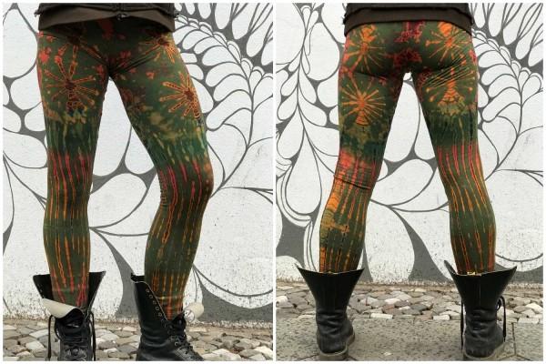 Leggins Batik grün bunt