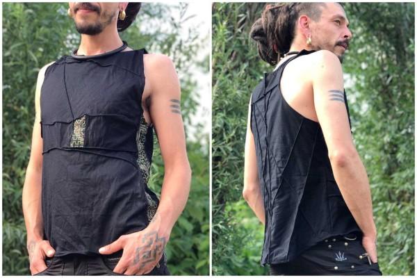 Sleeveless Shirt Shipibo schwarz inside-out_1