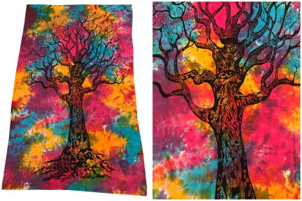 Wandtuch Baum batik bunt