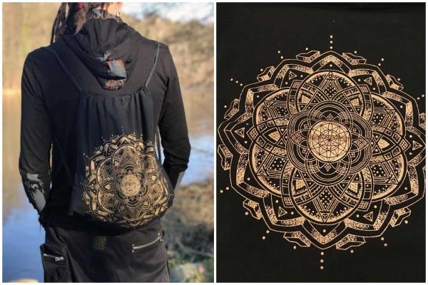 Beutel Mandala schwarz gold