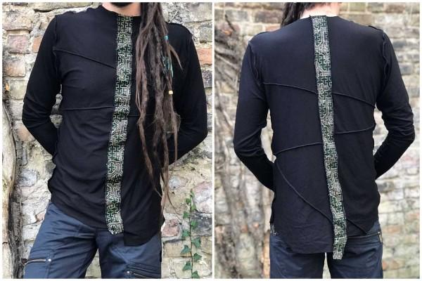 Longsleeve inside-out Shipibo stripe schwarz
