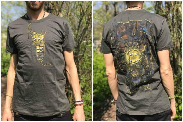 T-Shirt TEA BREAK DARK OLIVE Plazmalab Streewear Psywear uv aktiv