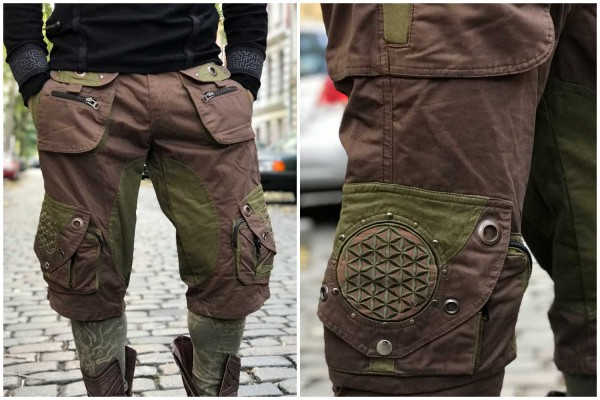 Hose Belt Flower of Life braun/olive