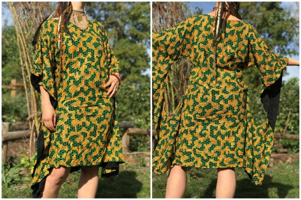 Kleid Holii Shipibo orange grün uv