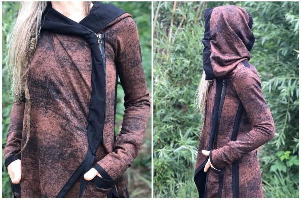 Hoodie Jacke Adjust schwarz rust Plazmalab Streewear Psywear