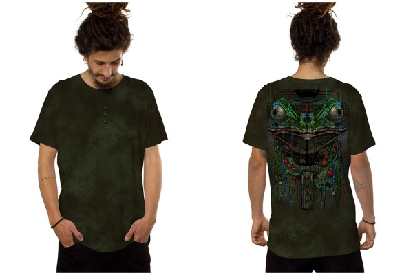 T-Shirt KAMBO AQUA OLIVE Plazmalab Streewear Psywear uv aktiv