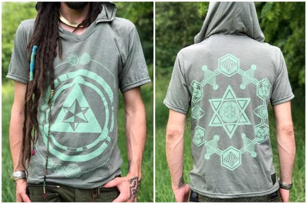 Hoodie T-Shirt Sacred Geometry olive