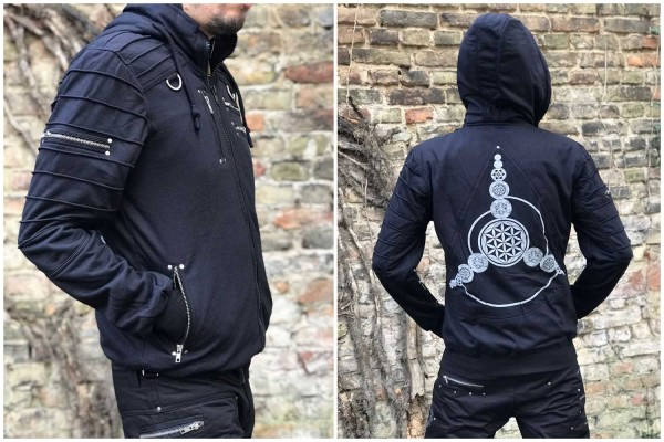 Hoodie Jacke crop circles schwarz Flower of Life by Pleiadian Berlin