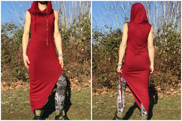 Kleid Asymetry rot