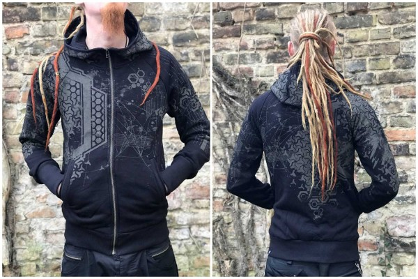 Hoodie DEA BLACK Plazmalab Streewear Psywear Kapuzenpullover Pullover