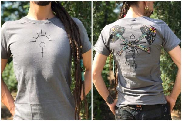 T-Shirt CHAMPIGNON DARK GREY Plazmalab Streewear Psywear uv aktiv