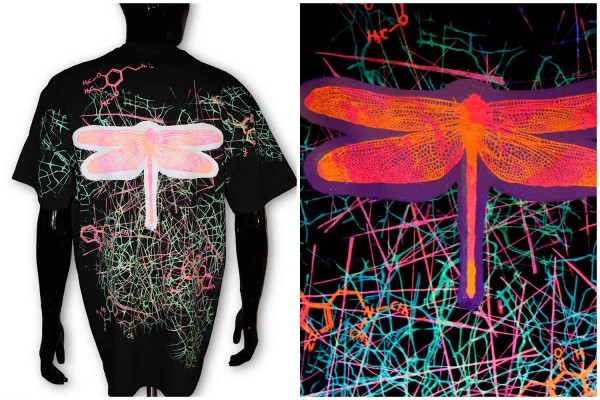 T-Shirt ● Irrgarten & Libelle schwarz uv ● Unikat