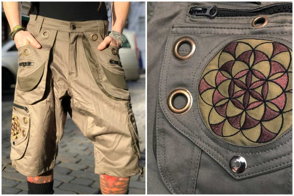 Hose Moon Flower of Life olive