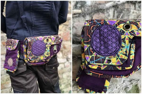 Gürteltasche big Fol purple UV Aktiv Flower of Life by Pleiadian, psywear, geometrische Print, Tribal Kleidung, Hippie Kleidung, Festival Kleidung, Psy wear, Psychedelic Kleidung, Psy Kleidung, UV Aktiv