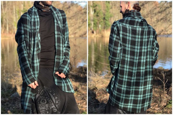 Mantel Kuntur Karo blau schwarz
