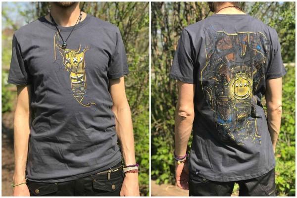 T-Shirt TEA BREAK DARK GREY Plazmalab Streewear Psywear uv aktiv