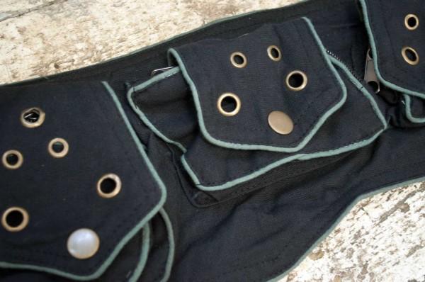 Gürteltasche Hipbag Nieten schwarz grau
