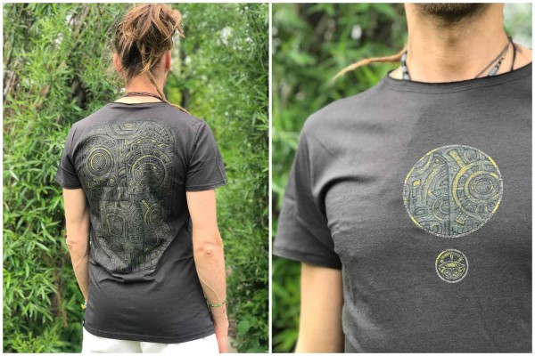 T-Shirt WD MASK DARK GREY Plazmalab Streewear Psywear uv aktiv