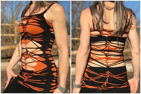 Top Cuts duo orange schwarz 2.0 ❂ UNIKAT