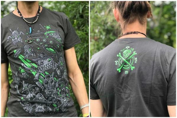 T-Shirt SPACE PIRATES DARK KHAKI Plazmalab Streewear Psywear uv aktiv