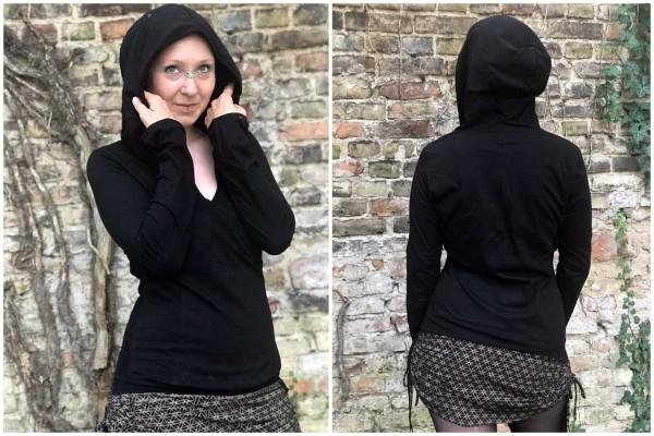 Hooded Top Crossover schwarz Goa Gekko London Cut Out Psywear