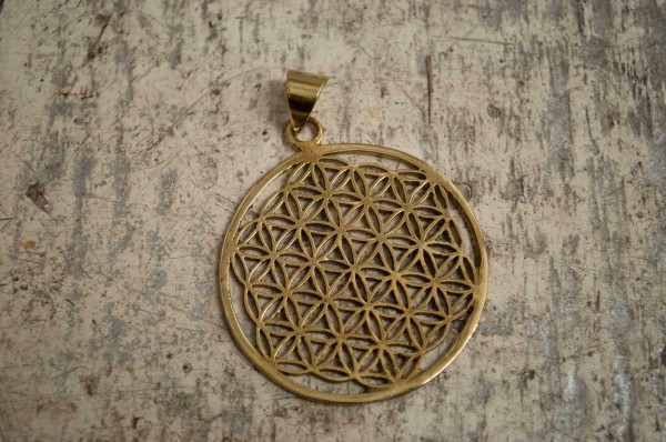 "Kettenanhänger Flower of life ""golden""- Ø 3,8cm"