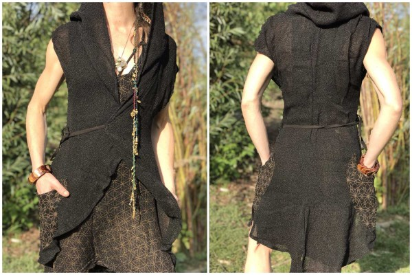 Hooded Vest Starflower schwarz