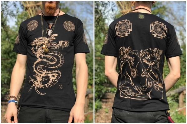 T-Shirt Dragon schwarz bleiche