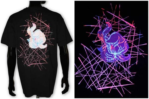 T-Shirt ● Pilz schwarz uv ● Unikat
