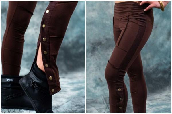 Leggings ✳ Button braun