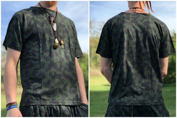 T-Shirt Shipibo grün braun