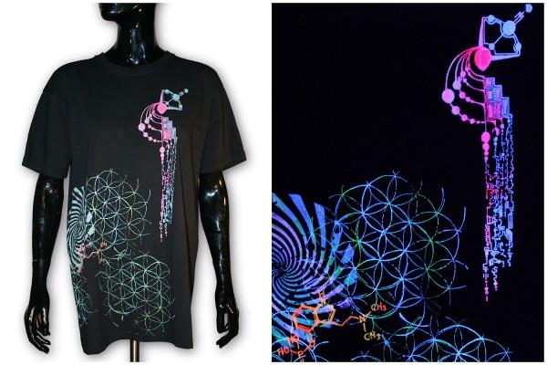 T-Shirt ● Kornkreis + Schmetterling uv schwarz ● Unikat