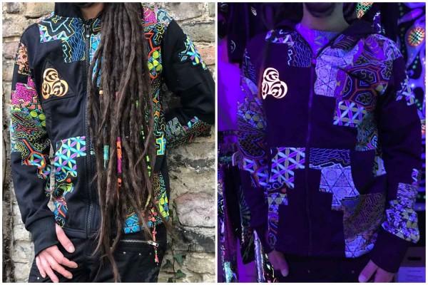 Jacke Pathfinder UV bunt Flower of Life by Pleiadian Goa Berlin geometrische Print Tribal Kleidung, Hippie Kleidung, Festival Kleidung, Psy wear, Psychedelic Kleidung, Psy Kleidung