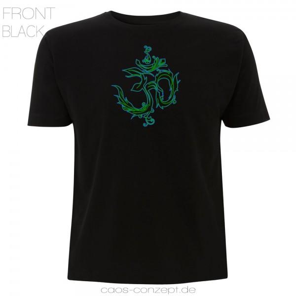 T-Shirt AUM schwarz ● blau-grün uv aktiv