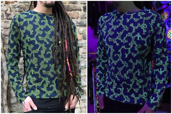 Longsleeve Shipibo grün blau UV 2.0 Goa, Alternativ, patches, psywear, geometrische Print, Tribal Kleidung, Hippie Kleidung, Festival Kleidung, Psy wear, Psychedelic Kleidung, Psy Kleidung