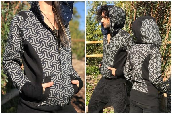 Hoodie Pattern schwarz